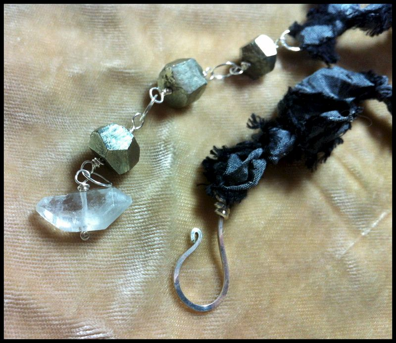 **holiday sale** Crystal Fetish #1 Necklace with Quartz Crystals, Pyrite, and Black Silk - product images  of