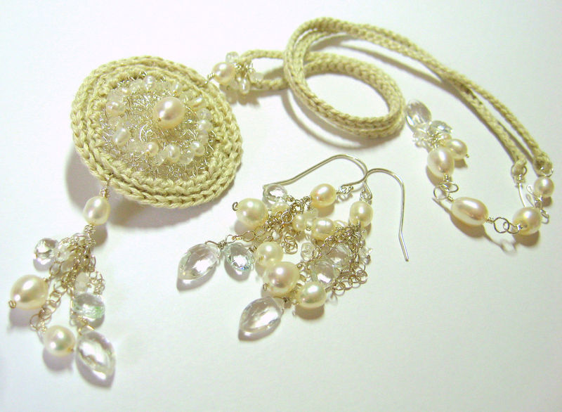 **holiday sale**  Molly Earrings with Pearls Aquamarine and Rainbow Moonstone - product images  of