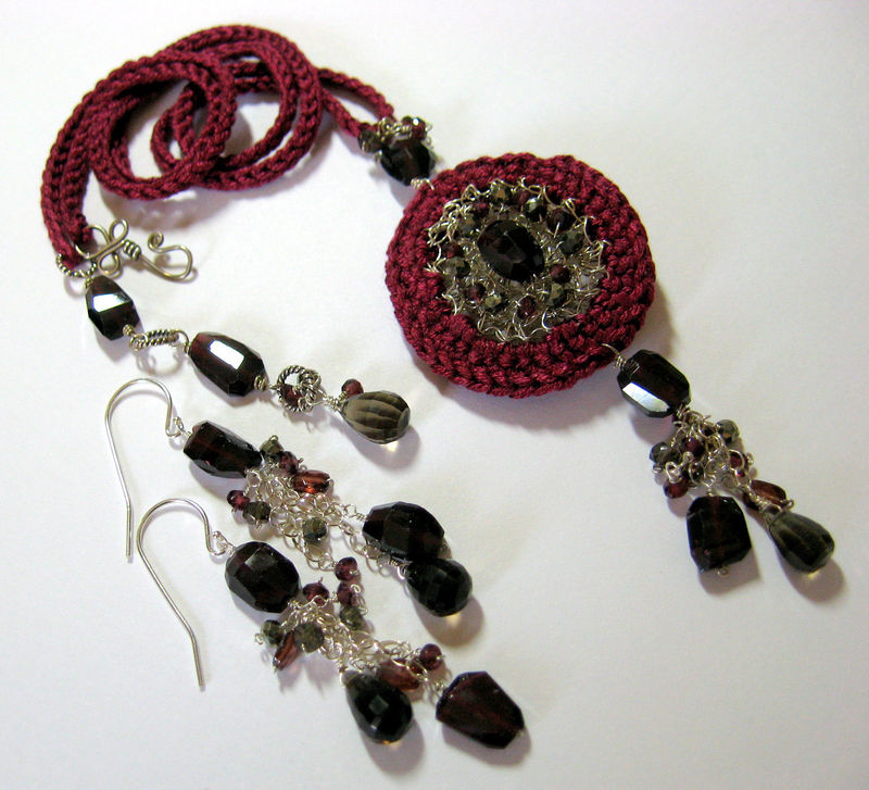 **holiday sale** Lucy Crocheted Sterling & Silk Scent Locket with Garnets, Pyrite and Smoky Quartz - product images  of