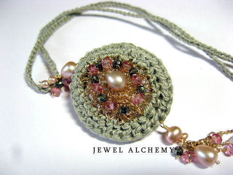 **holiday,sale**,Elinor,Perfume,or,Scent,Locket:,Crocheted,with,Raw,Linen,,Pearls,and,Pyrite,perfume locket, raw linen, pink pearls, boho jewelry, pyrite, crochet jewelry, jewel alchemy, jewelalchemy, artisan made, handmade