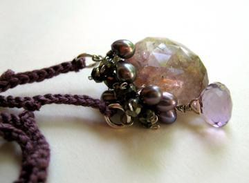**holiday sale**  Tarnished Smoke Necklace with Moss Amethyst Pyrite Pearls hand crocheted silk - product images  of