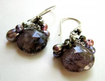 **holiday sale**  Tarnished Smoke Earrings with Moss Amethyst Pyrite Pearls Sterling silver - product images  of