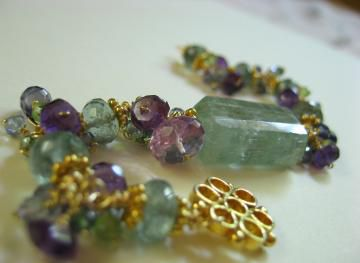 **holiday sale** Sunny Day in Atlantis Bracelet with Moss Aquamarine Amethyst Kyanite Peridot - product images  of