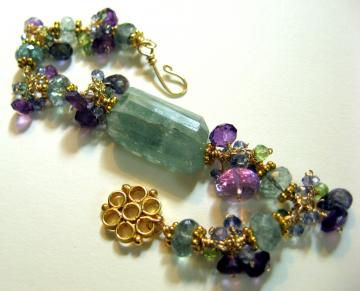 **holiday,sale**,Sunny,Day,in,Atlantis,Bracelet,with,Moss,Aquamarine,Amethyst,Kyanite,Peridot,Jewelry Bracelet Wire Wrapped moss aquamarine amethyst kyanite goldfill peridot mystic quartz atlantis vermeil luxe gemstone purple green aquamarine moss aquamarine amethyst iolite kyanite love atlantean mystic blue quartz mystic green quartz peridot gol