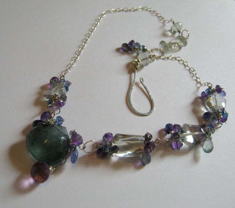 **holiday sale** Violet Moss Necklace with Aquamarine Amethyst Tanzanite Iolite and Sterling Silver - product images  of