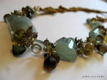 **holiday,sale**,Sky,Earth,Sun,Leaves:,Necklace,of,Crocheted,Silk,and,Moss,Aquamarine,,Pyrite,,Tourmaline,,Smoky,Oro,Verde,Quartz,Jewelry Necklace Wire Wrapped crochet aquamarine pyrite green garnet sky luxury moss aquamarine woodland mixed media jewelry autumn rustic fiber jewelry ochre silk aquamarine moss aquamarine oro verde quartz green gold quartz green tourmaline pyrite chro