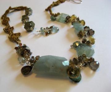 **holiday sale** Sky Earth Sun Leaves:  Necklace of Crocheted Silk and Moss Aquamarine, Pyrite, Tourmaline, Smoky and Oro Verde Quartz - product images  of