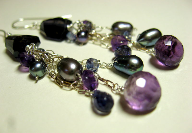 **holiday sale** Violet Dream Earrings with Iolite, Amethyst, and Grey Freshwater Pearls - product images  of