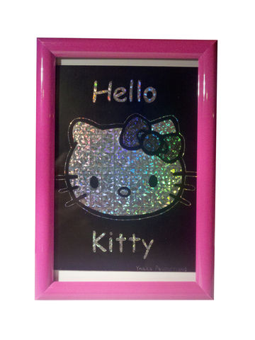 Hello,Kitty,-,Scratchboard, scratch, board, original, artwork, Hello Kitty, Pink, holographic, 4x6, yakka