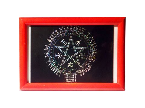Hellsing,Pentagram,-,Scratchboard, scratch, board, original, artwork, Hellsing, Alucard, Red, holographic, 4x6, yakka