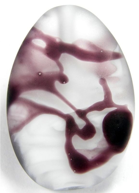 Handmade Lampwork Glass Focal Bead Purple White Clear - product images  of