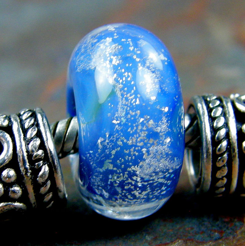 Encased Blue Silver Dichroic Handmade Lampwork Large Hole Bead - product images  of