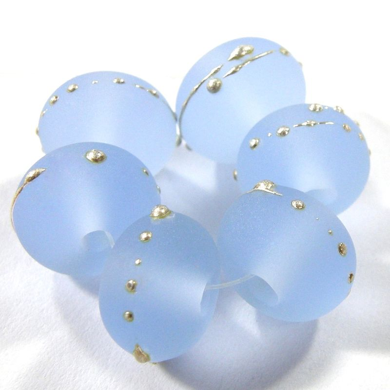 Etched Pale Blue Lampwork Glass Bead Frosty Handmade Beach Glass Silver 050efs - product images