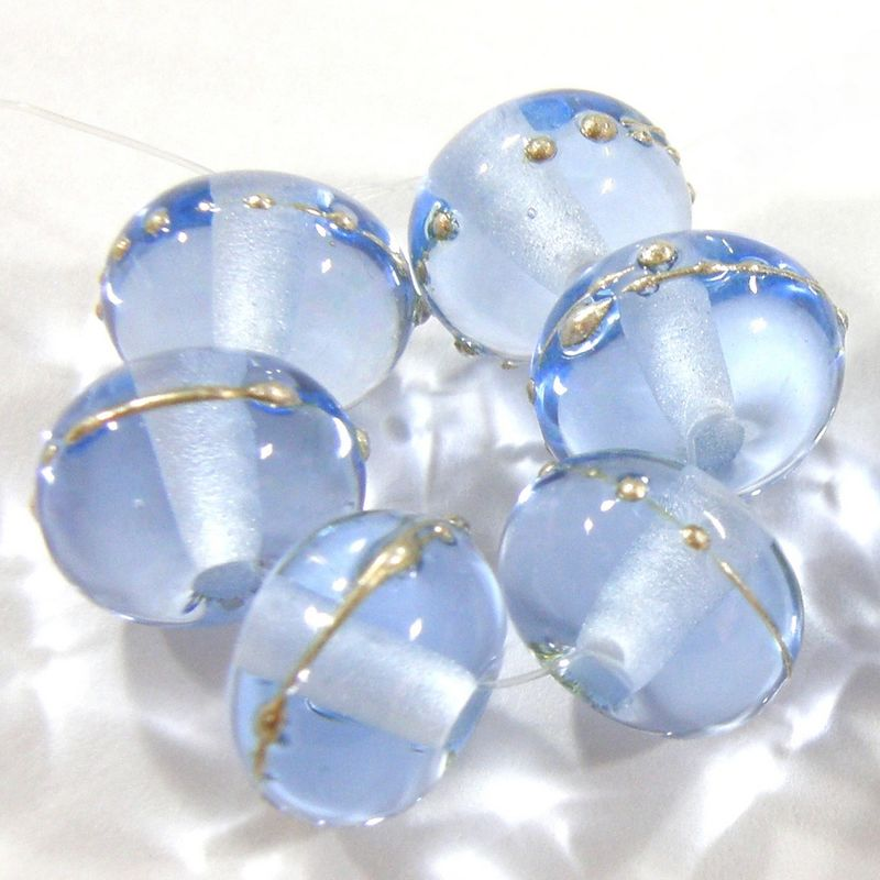 Transparent Pale Blue Lampwork Glass Bead Shiny Glossy Silver 050gfs - product images