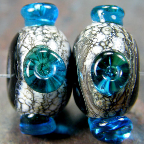 Black,Handmade,Lampwork,Glass,Bead,Pair,With,Aqua,Dots,black, handmade, lampwork, glass, bead, pair, aqua, dots, covergirlbeads, charlotte hayes, sra