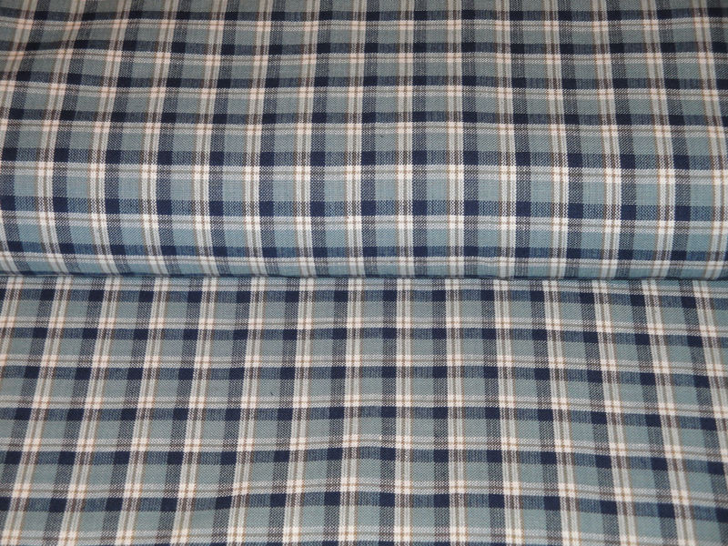 Large Plaid Cotton Homespun Material Navy Light Blue Tan White Sold By The Yard - product image