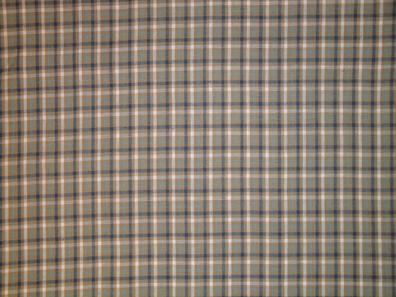 Cotton Homespun Material Navy Light Blue Tan White Sold By The Yard - product image