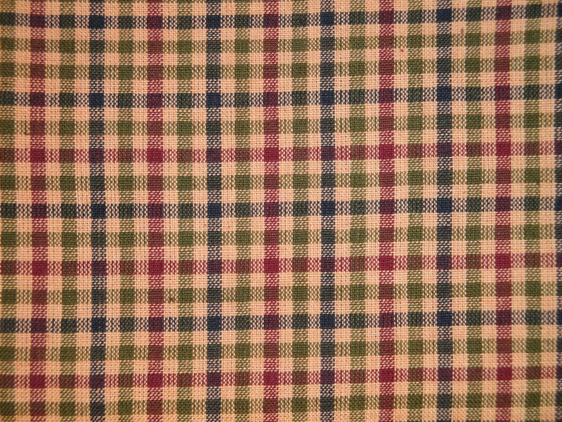 Navy Olive Wine And Tea Dye Medium Check Homespun Fabric Sold By The Yard - product image