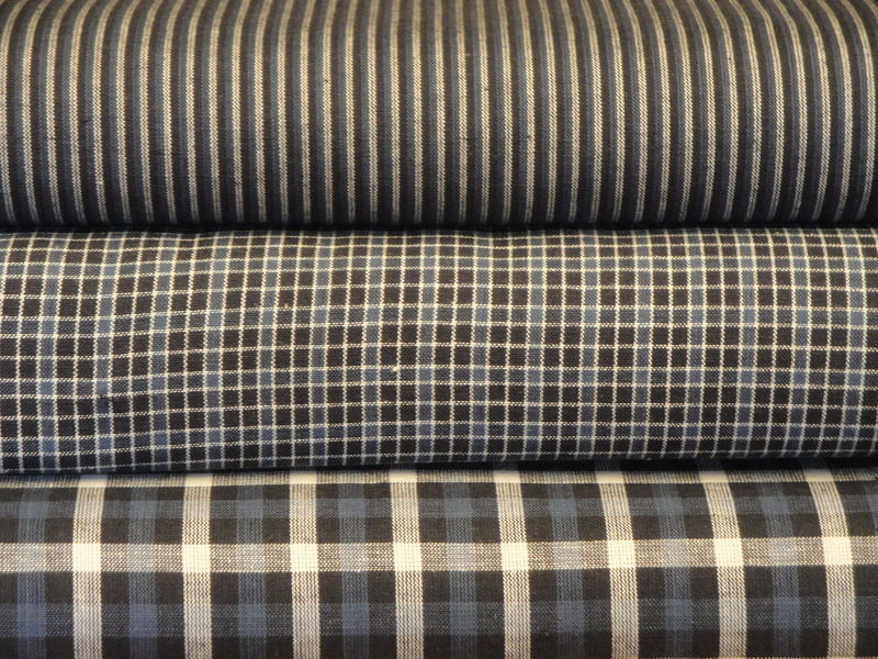Blue Cotton Homespun Material Window Pane Plaid Sold By The Yard - product image