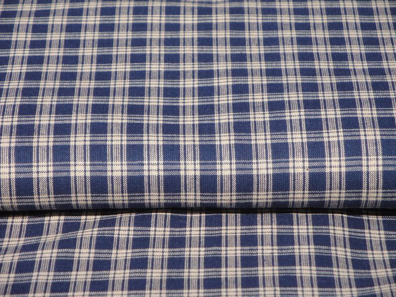 Navy Basic Plaid Cotton Homespun Fabric Sold By The Yard - product image
