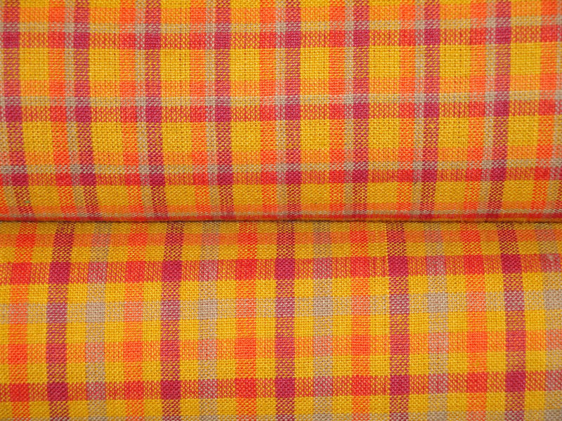 Orange Check Homespun Material Sold By The Yard - product image