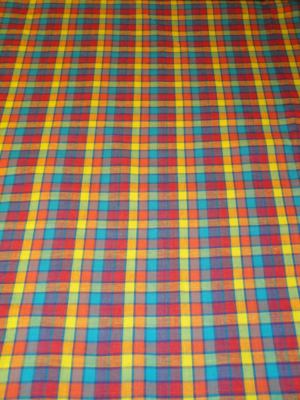 Cotton Homespun Multi Color Plaid Fabric Sold By The Yard - product image