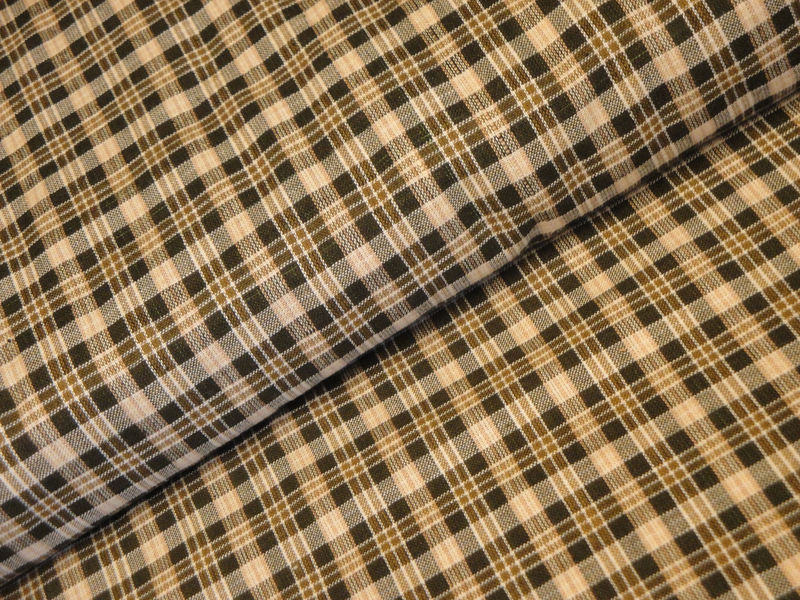 Cotton Homespun Material Brown Small Plaid 1 Yard - product image