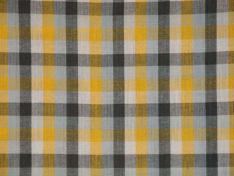 Homespun Check Fabric Yellow White Grey And Charcoal Sold  By The Yard - product image