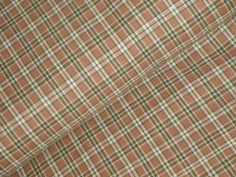 Brown Green And Natural Plaid Homespun Fabric Sold By The Yard - product image