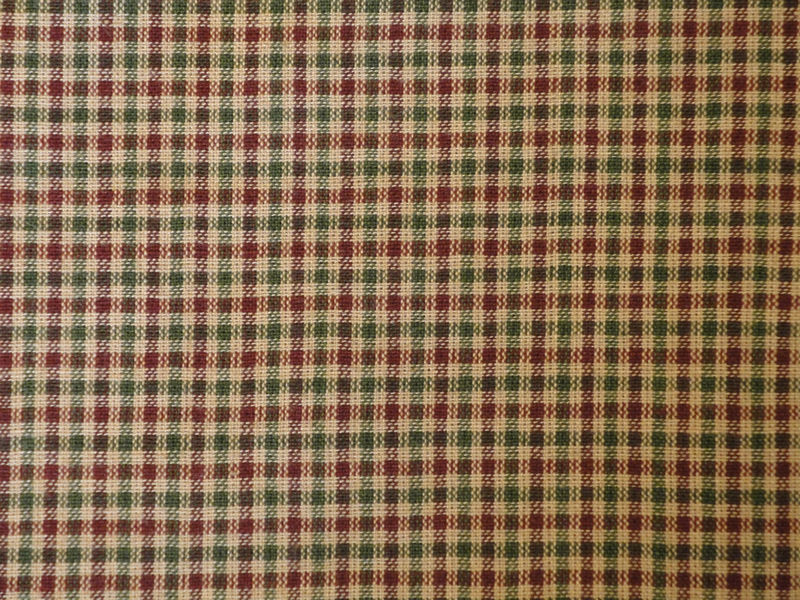 Homespun Material Wine And Green Small Check 1 Yard - product image