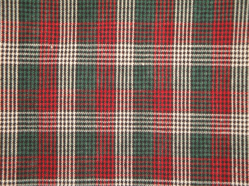 Homespun Fabric Micro Check Plaid Green Black Wine And White 1 Yard - product image