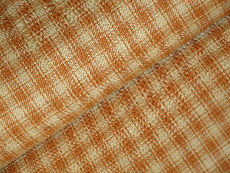 Light Brown Plaid Cotton Homespun Fabric Sold By The Yard - product image