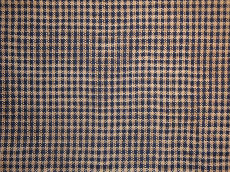 Homespun Fabric Small Navy Blue And Natural Check 1 Yard - product image