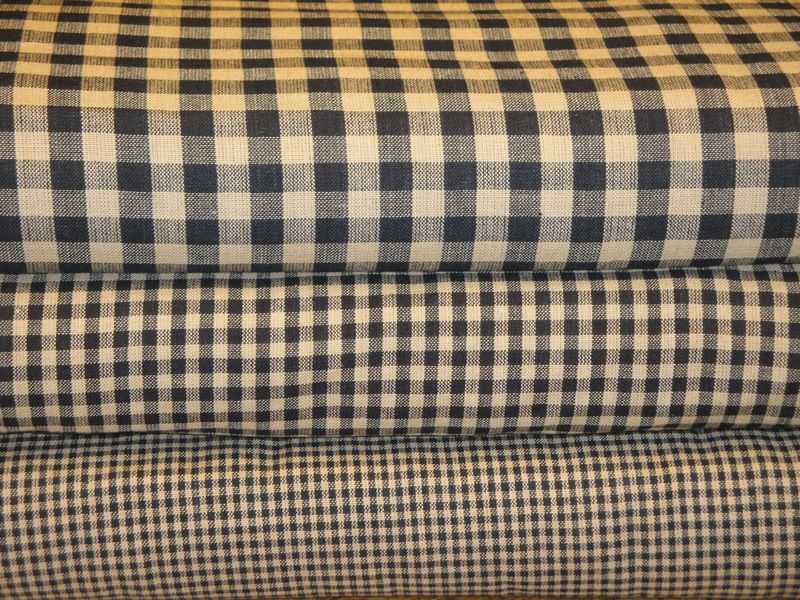 Black And Tan Small Check Cotton Homespun Material Sold By The Yard - product image