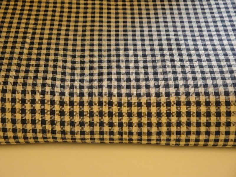 Homespun Material Black And Tan Medium Check Cotton Homespun Fabric Sold By The Yard - product image