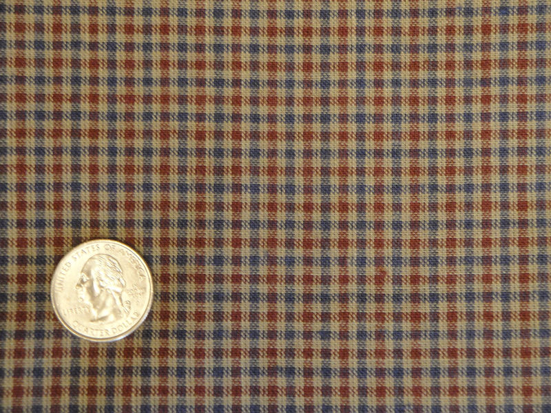 Homespun Material Small Check Wine And Blue Sold By The Yard - product image
