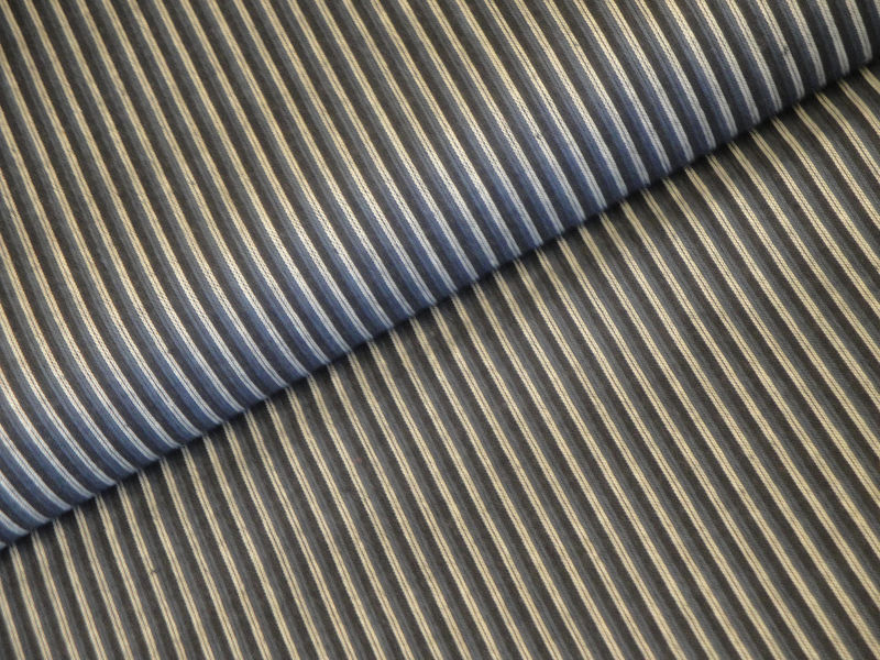 Blue Ticking Stripe Cotton Homespun Fabric Sold By The Yard - product image