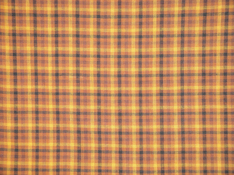 Plaid Homespun Fabric Khaki Wine And Black Sold By The Yard - product image