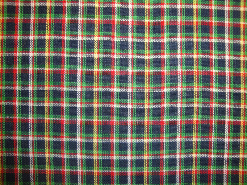 Cotton Homespun Small Plaid Material Navy Green White And Yellow Sold By The Yard - product image