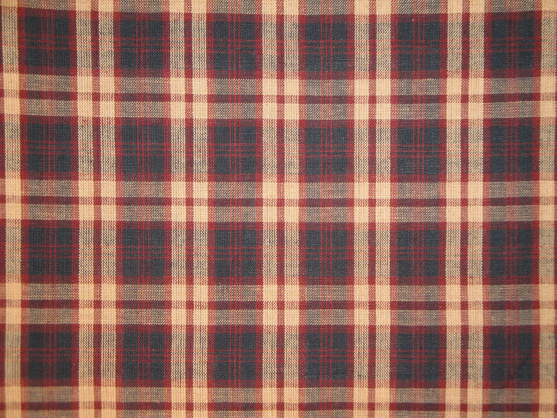 Plaid Homespun Material Navy Wine And Natural Sold By The Yard - product image