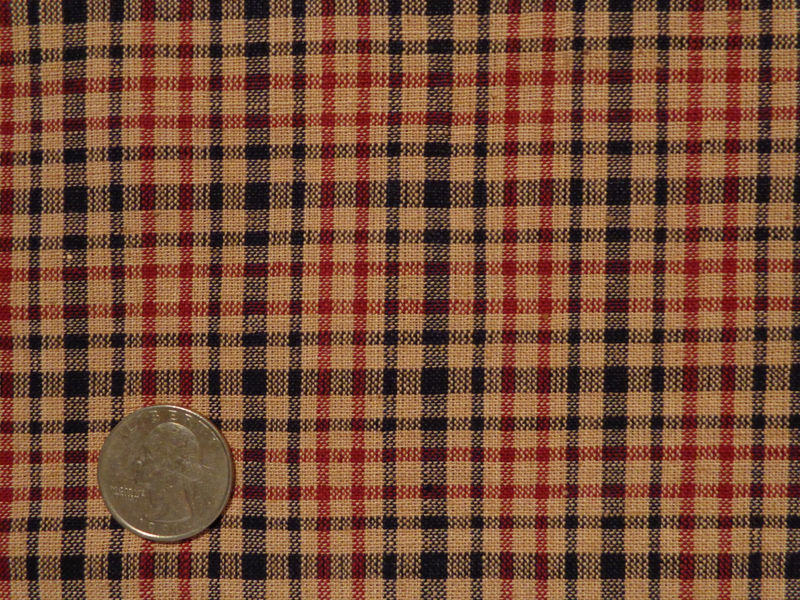 Plaid Homespun Material Black Wine And Natural Sold By The Yard - product image