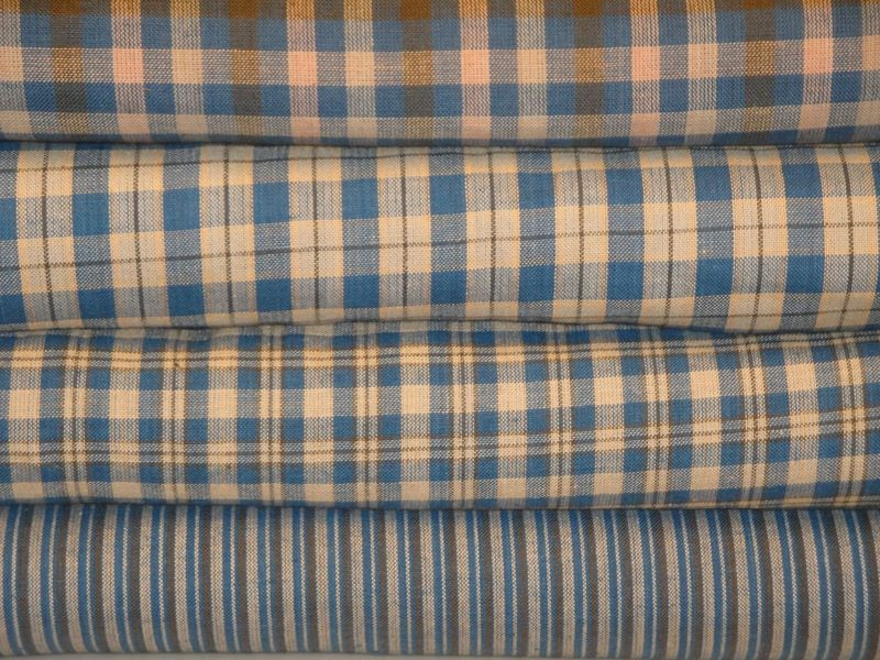 Blue Natural And Olive Woven Cotton Homespun Ticking Stripe Fabric Sold By The Yard - product image