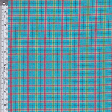 Aqua Plaid Homespun Fabric Sold By The Yard - product image