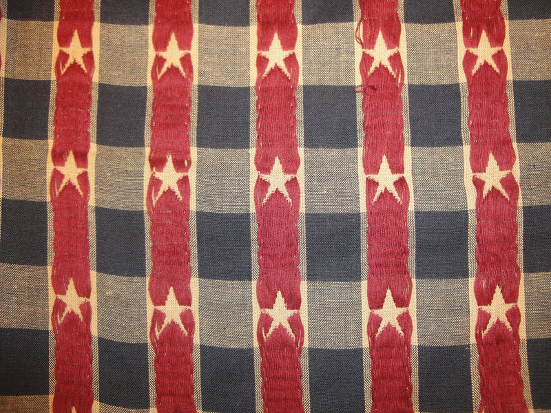 Old Glory Material Cotton Jacquard Navy And Wine Star Large Check 1 Yard - product image