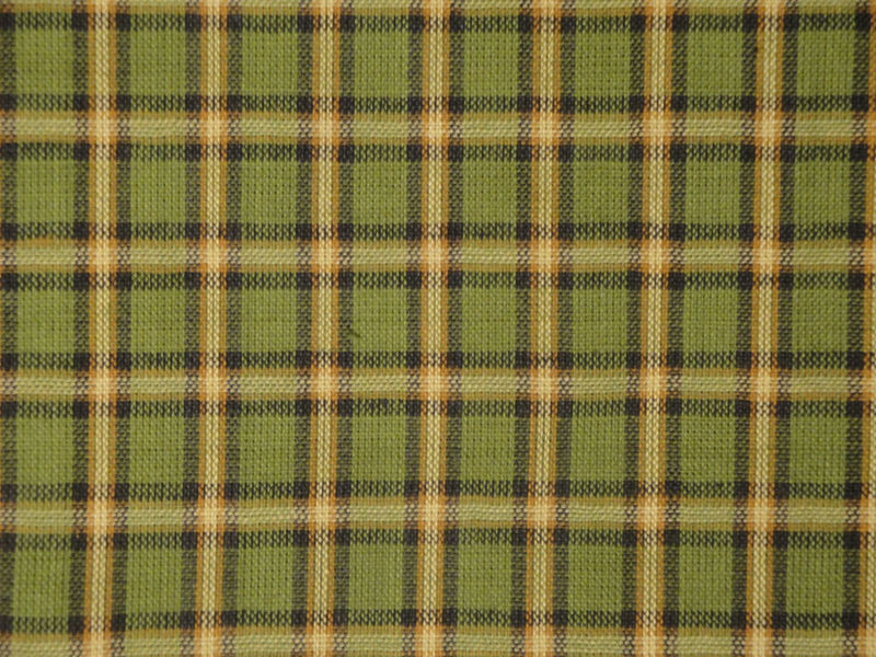 Plaid Homespun Fabric Green Black Butterscotch and Natural Sold By The Yard - product image