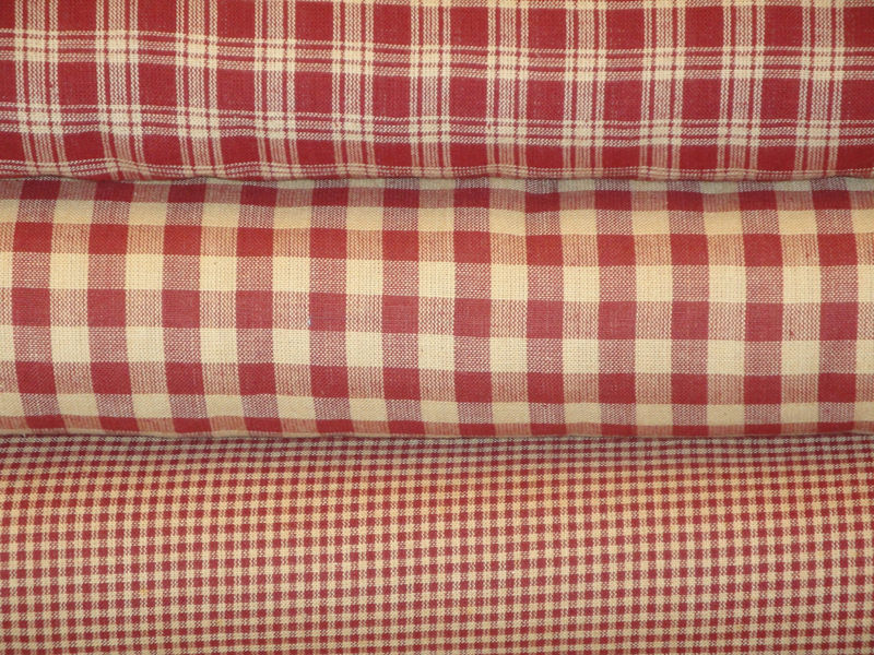 Basic Plaid Wine Cotton Homespun Fabric Sold By The Yard - product image
