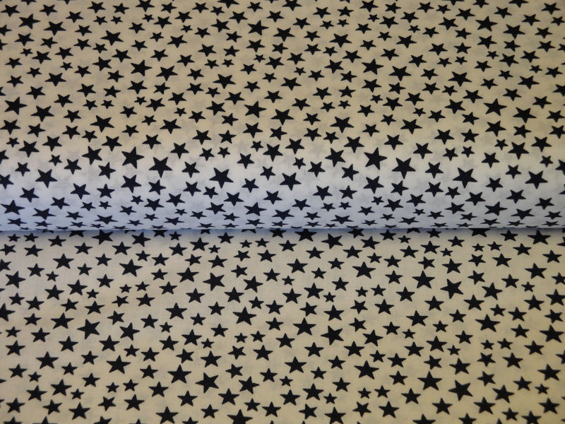 Scattered Star Fabric White With Navy Star Sold By They Yard - product image