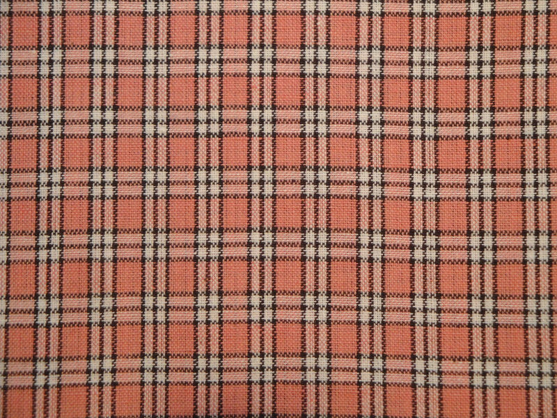 Homespun Fabric Small Plaid Rose Mocha And White Sold By The Yard - product image