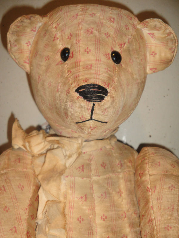 Old Quilt Bear Jointed 16 Inch HANDSEWN - product image