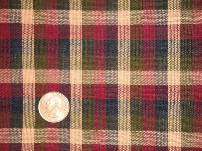 Homespun Fabric Navy Olive Wine And Tea Dye Large Check 1 Yard - product image